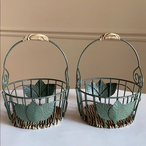 2 Metal and Wicker Decorative Baskets